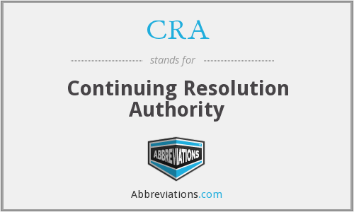CRA - Continuing Resolution Authority