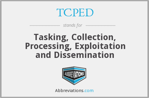 TCPED - Tasking, Collection, Processing, Exploitation and Dissemination