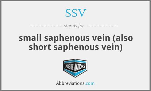 SSV - small saphenous vein (also short saphenous vein)