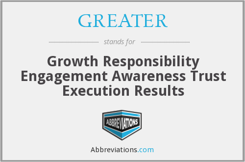 GREATER - Growth Responsibility Engagement Awareness Trust Execution Results