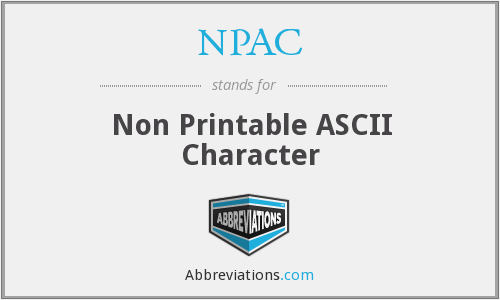 graphic relating to Non Printable Ascii Characters called NPAC - Non Printable ASCII Temperament