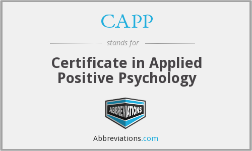 CAPP - Certificate in Applied Positive Psychology