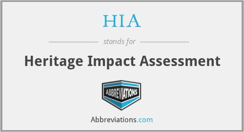 HIA - Heritage Impact Assessment