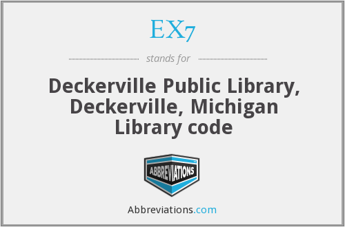 EX7 - Deckerville Public Library, Deckerville, Michigan Library code