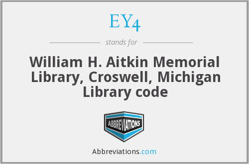 EY4 - William H. Aitkin Memorial Library, Croswell, Michigan Library code