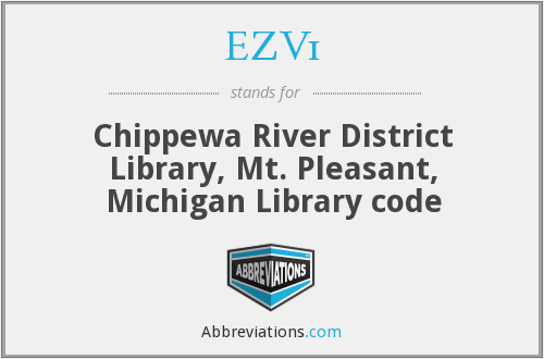 EZV1 - Chippewa River District Library, Mt. Pleasant, Michigan Library code
