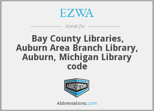 EZWA - Bay County Libraries, Auburn Area Branch Library, Auburn, Michigan Library code