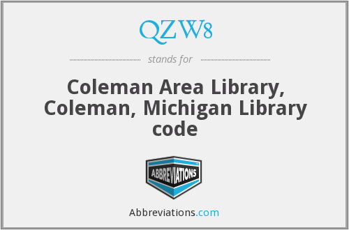 QZW8 - Coleman Area Library, Coleman, Michigan Library code