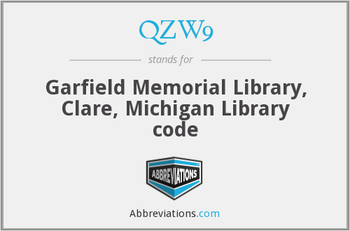 QZW9 - Garfield Memorial Library, Clare, Michigan Library code