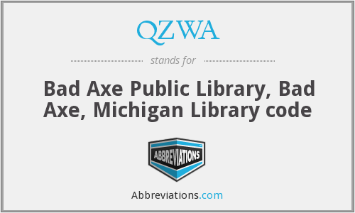 QZWA - Bad Axe Public Library, Bad Axe, Michigan Library code