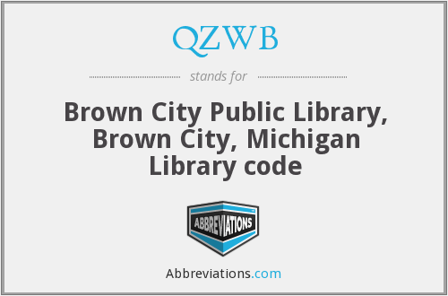 QZWB - Brown City Public Library, Brown City, Michigan Library code