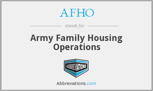 What does AFHO stand for?