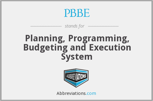PBBE - Planning, Programming, Budgeting and Execution System