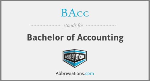 BAcc - Bachelor of Accounting