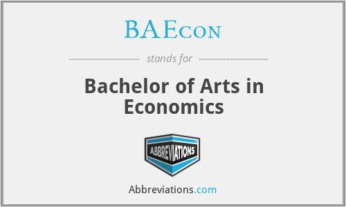 BAEcon - Bachelor of Arts in Economics