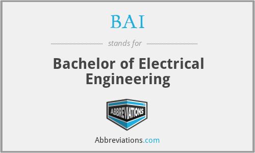 BAI - Bachelor of Electrical Engineering