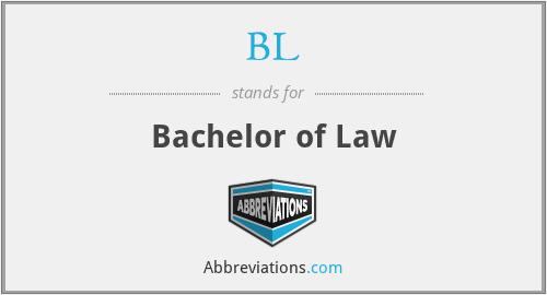 BL - Bachelor of Law