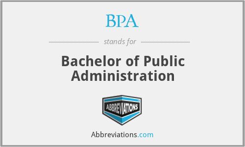 BPA - Bachelor of Public Administration