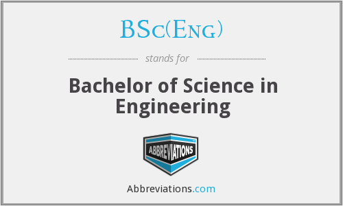 What does BSC(ENG) stand for?