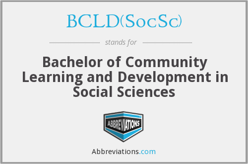 BCLD(SocSc) - Bachelor of Community Learning and Development in Social Sciences