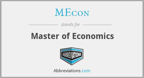 MEcon - Master of Economics