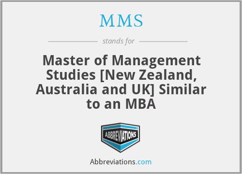 MMS - Master of Management Studies [New Zealand, Australia and UK] Similar to an MBA