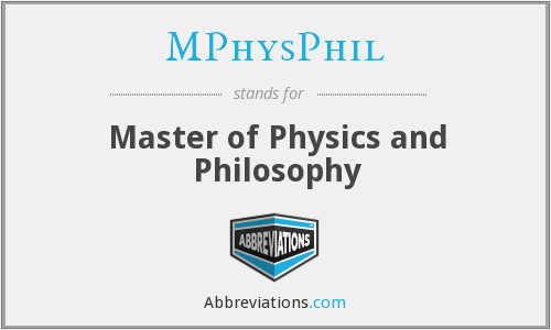 MPhysPhil - Master of Physics and Philosophy