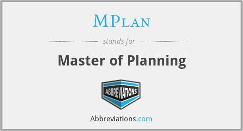 MPlan - Master of Planning