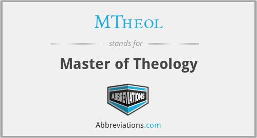 MTheol - Master of Theology