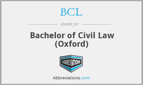 BCL - Bachelor of Civil Law (Oxford)