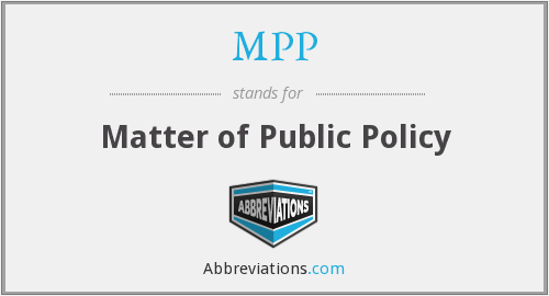 MPP - Matter of Public Policy