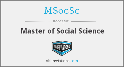 MSocSc - Master of Social Science
