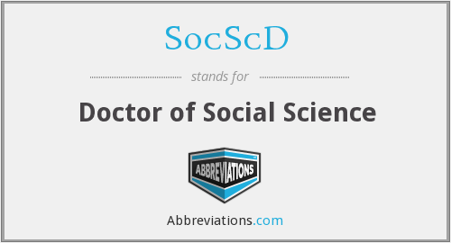 SocScD - Doctor of Social Science