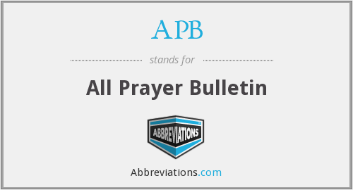 APB - All Prayer Bulletin