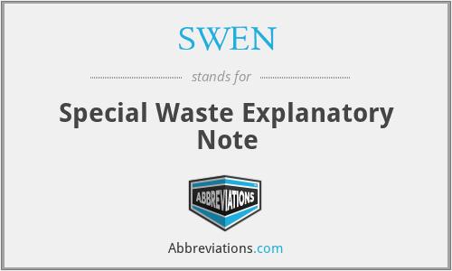SWEN - Special Waste Explanatory Note