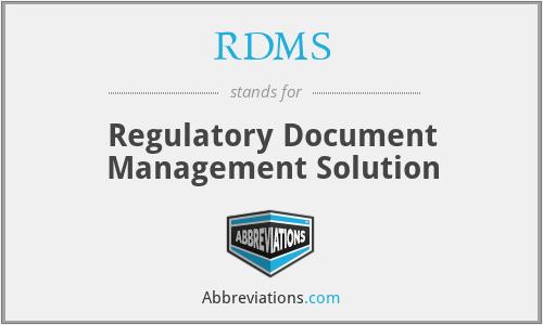RDMS - Regulatory Document Management Solution