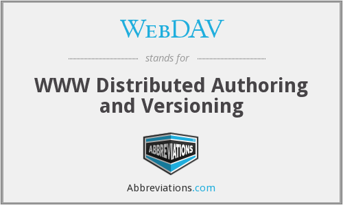 WebDAV - WWW Distributed Authoring and Versioning