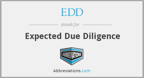 EDD - Expected Due Diligence