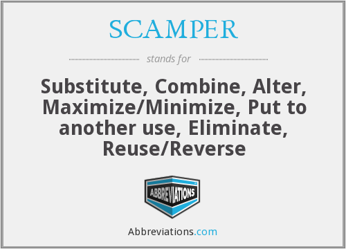 SCAMPER - Substitute, Combine, Alter, Maximize/Minimize, Put to another use, Eliminate, Reuse/Reverse