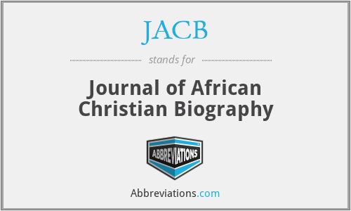 JACB - Journal of African Christian Biography