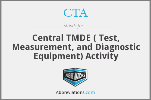 CTA - Central TMDE ( Test, Measurement, and Diagnostic Equipment) Activity