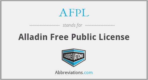 AFPL - Alladin Free Public License