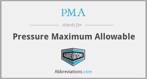PMA - Pressure Maximum Allowable
