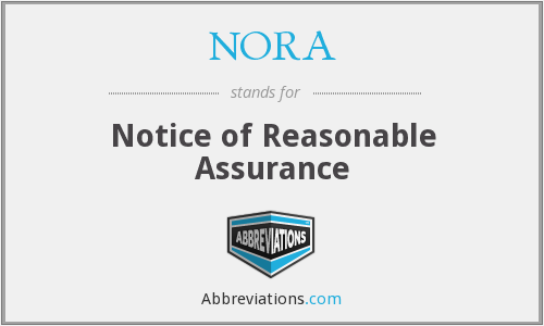 NORA - Notice of Reasonable Assurance