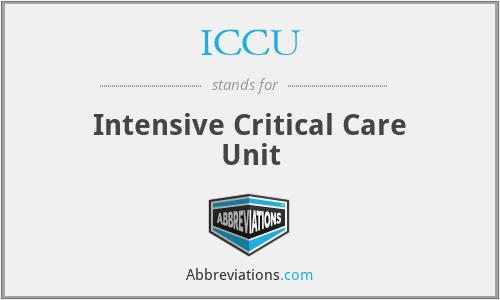 ICCU - Intensive Critical Care Unit