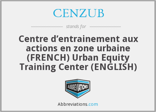 CENZUB - Centre d'entrainement aux actions en zone urbaine (FRENCH) Urban Equity Training Center (ENGLISH)