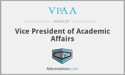 VPAA - Vice President of Academic Affairs