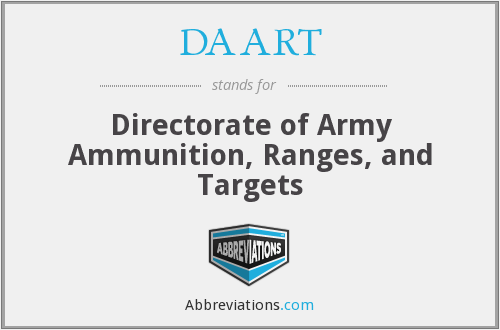 DAART - Directorate of Army Ammunition, Ranges, and Targets