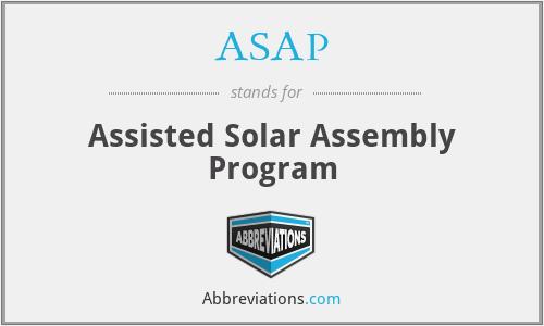 ASAP - Assisted Solar Assembly Program