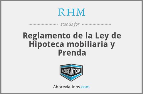 RHM - Reglamento de la Ley de Hipoteca mobiliaria y Prenda